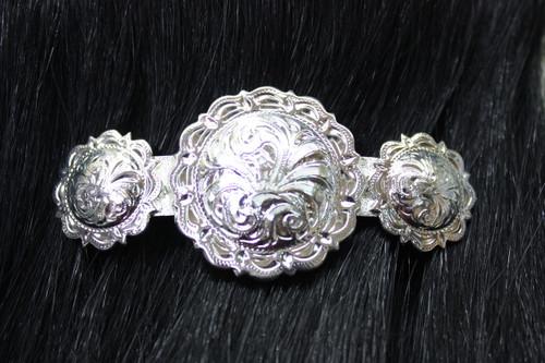 Silver Round Scallop Barrette