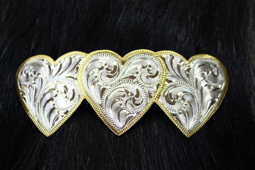 Silver Engraved Heart Barrette