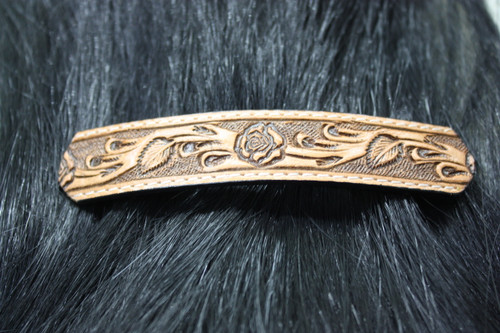 Leather Barrette - Natural