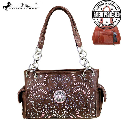Concho Collection Satchel- Coffee
