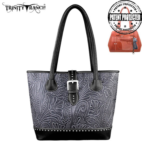 Trinity Ranch Tooled Handbag - Black