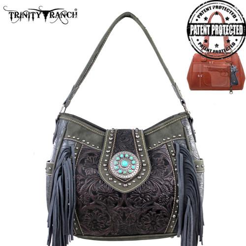 Trinity Ranch Tooled Handbag - Grey