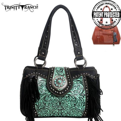Trinity Ranch Tooled Handbag  Black/Turq