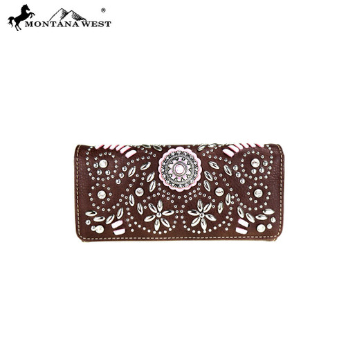 Montana West Concho Collection Wallet - Coffee