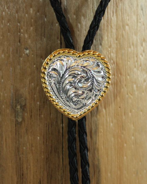 Silver Heart Bolo with Gold Edge