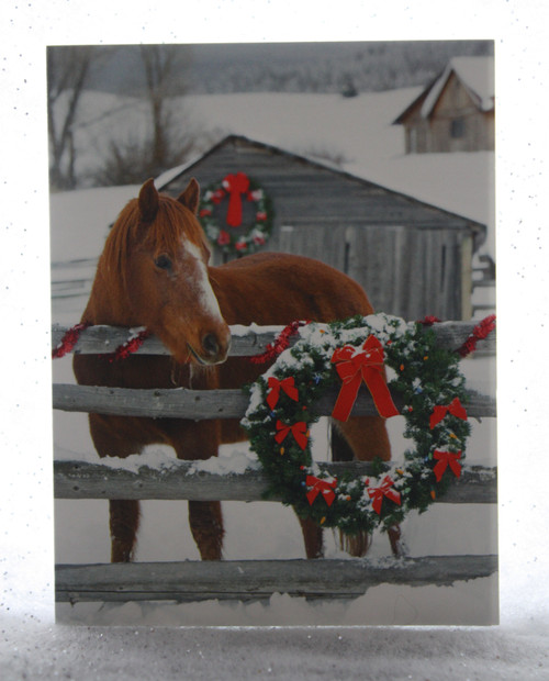 Horse with Barn and Wreath Christmas Card