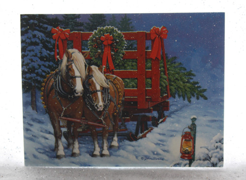 Horse and Wagon Christmas Card