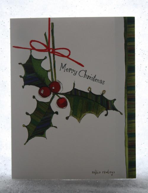 Merry Christmas Holly Christmas card