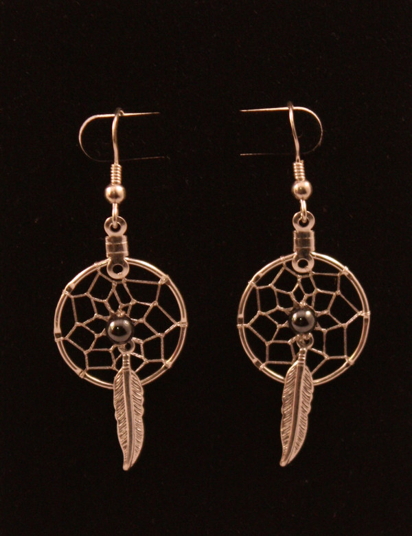 Dream Catcher Earrings with Hematite