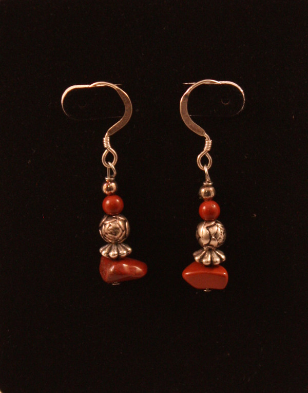 Earrings with Red Jasper Nuggets