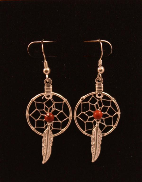 Dream Catcher Earrings with Red Jasper
