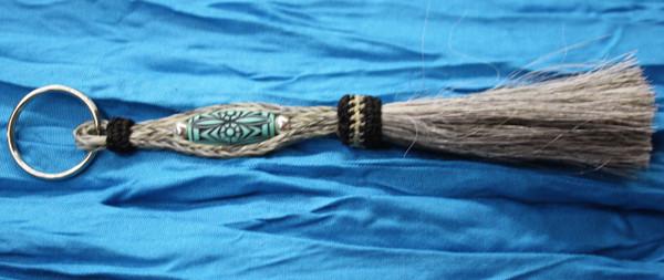 Horse Hair Key Chain - Bead, Grey