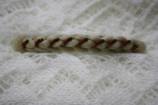 Horse Hair Barrette French Braid with Beads - Blonde
