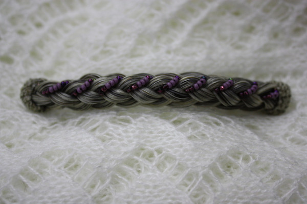 Horse Hair Barrette French Braid with Beads- Grey