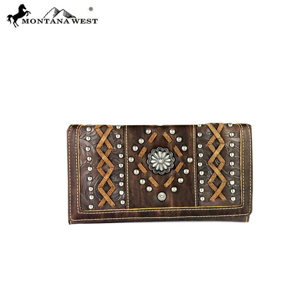 Concho Collection Secretary Wallet- Coffee