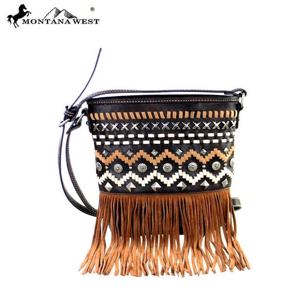 Fringe Collection Bucket Crossbody Bag - Coffee