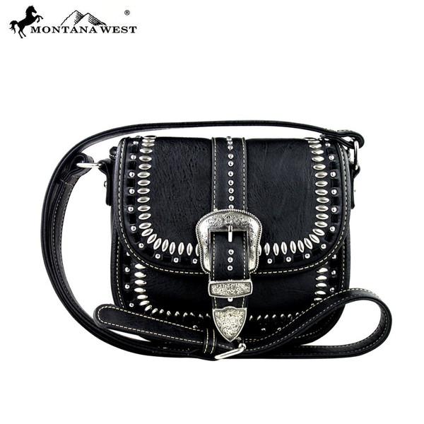 Buckle Collection Messenger Bag - Black
