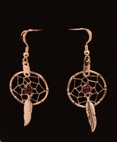 Dream Catcher Earrings with Amethyst