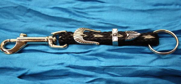 Key Chain Horse Hair, Black Tan