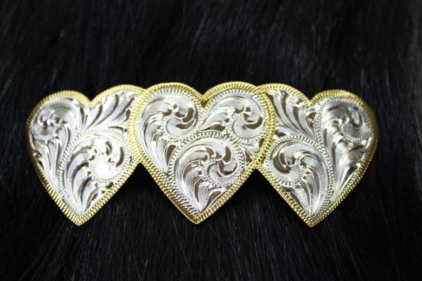 Silver Engraved Heart Barrette