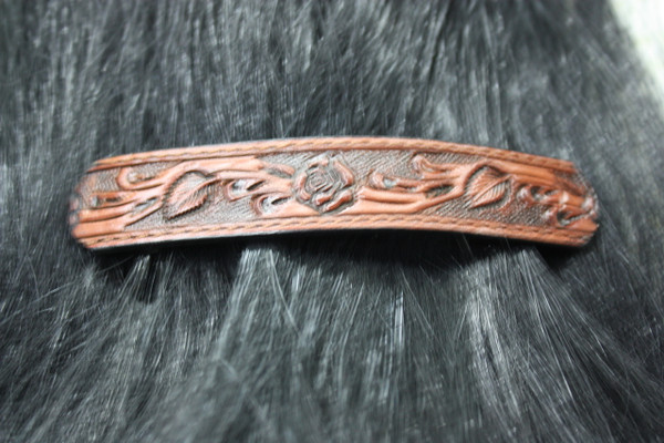Leather Barrette - Brown
