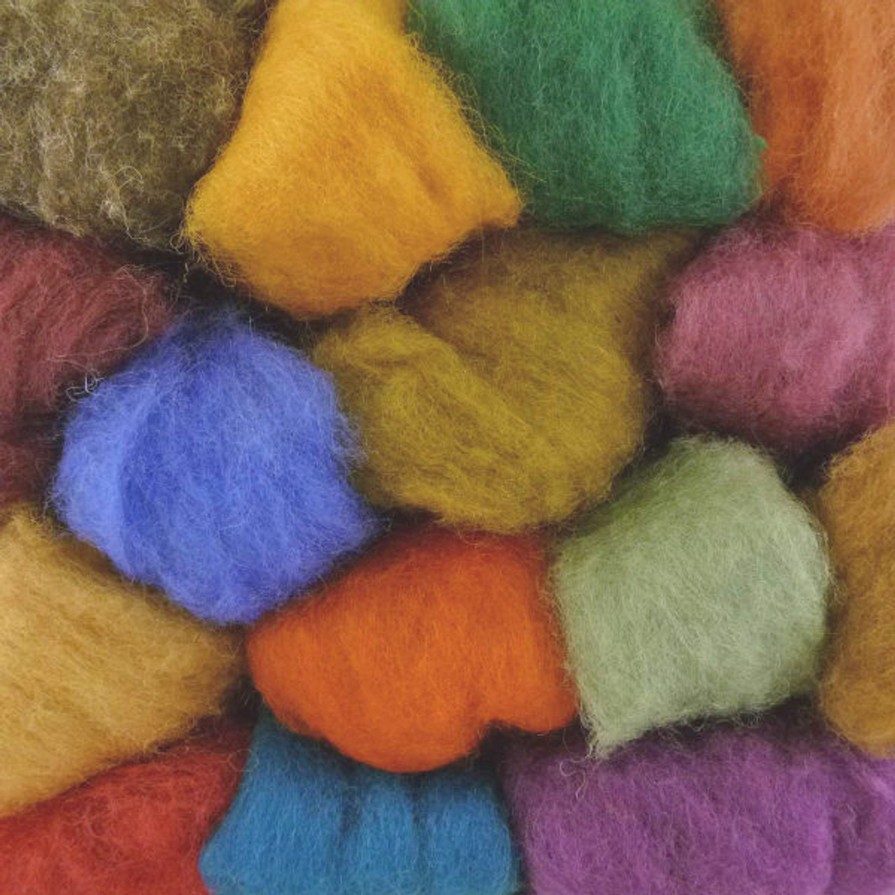 Orange Rust and Red Colors for Felting Extra Fine Merino One Ounce Roving Assorted Yellow