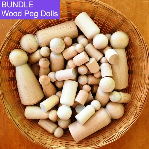 Wood Peg Doll Bundle