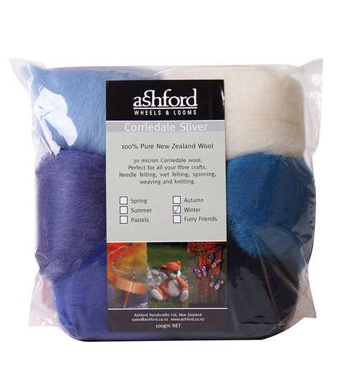 Ashford Corriedale Wool Roving Pack - Winter Blues