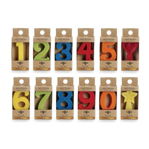 Beeswax Birthday Number Candle - Cake Topper
