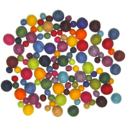 Felted Wool Balls | Beads | Poms - 115 Pack