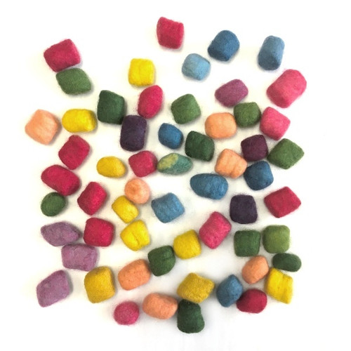 Organic Plant Dyed Felted Wool Beads - Assorted