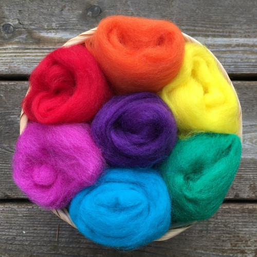 Ashford Corriedale Wool Roving Pack - Rainbow Brights