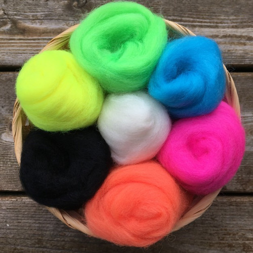Ashford Corriedale Wool Roving Pack - Fluro