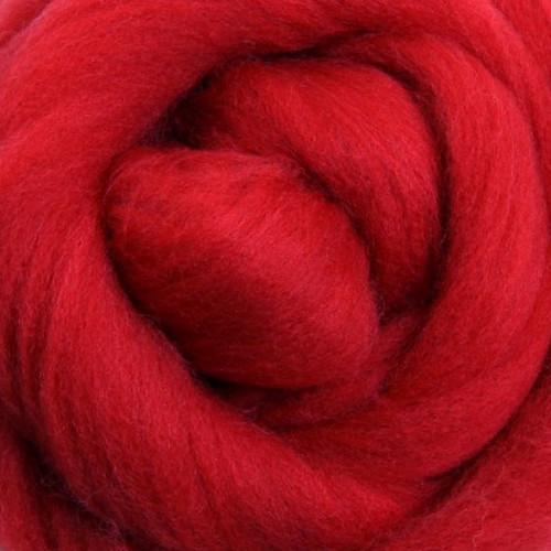 Ashford Dyed Merino Wool Top - Scarlet (Red)
