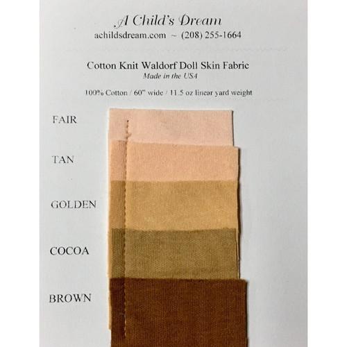 Cotton Knit Waldorf Doll Skin Swatch Card