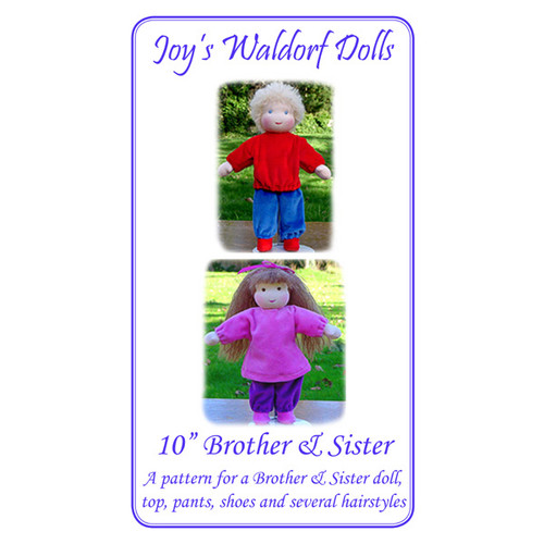 "10"" Brother and Sister Doll Pattern"