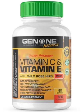 GenOne Laboratories Vitamin C & Vitamin E With Wild Rose Hips Bottle