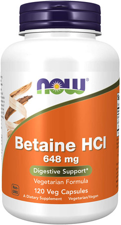 Now Betaine HCI 648 MG bottle