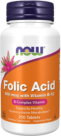 Now Folic Acid 800 mcg bottle