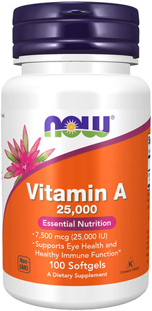 Now Vitamin A 25,000 IU bottle