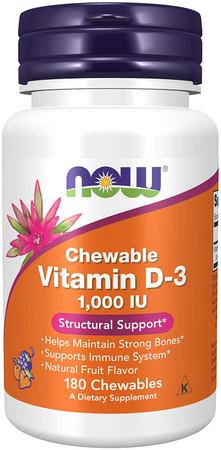 Now Chewable Vitamin D-3 1000 IU bottle