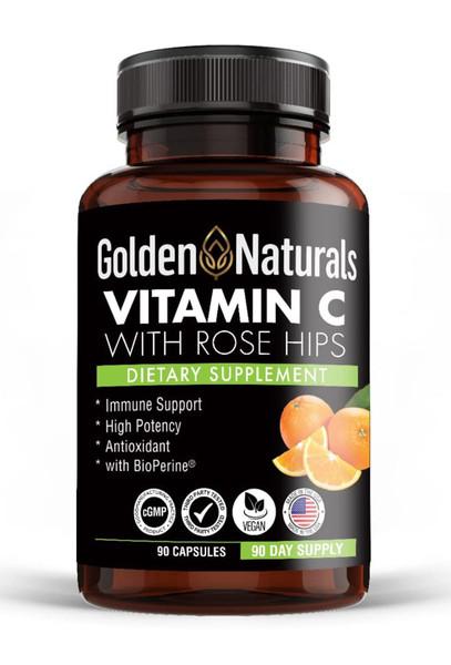 Golden Naturals Vitamin C With Rose Hips Bottle