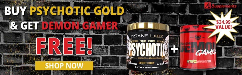 Buy 1 Insane Labz Psychotic Gold - 35 Servings, Get Demon Gamer FREE!