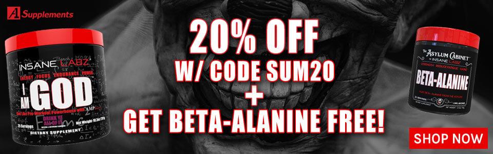 Buy 1 lnsane Labz I Am God - 25 Servings, Get 20% OFF With Code SUM20 + BETA-ALANINE FREE!
