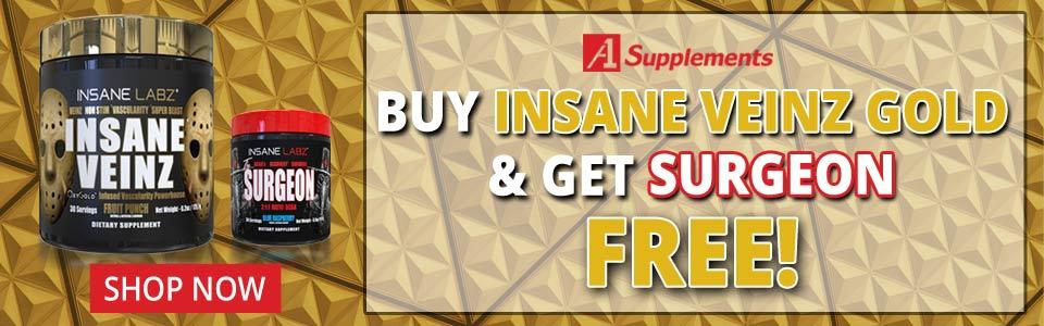 Buy 1 Insane Labz Insane Veinz Gold - 30 Servings, Get Surgeon FREE!