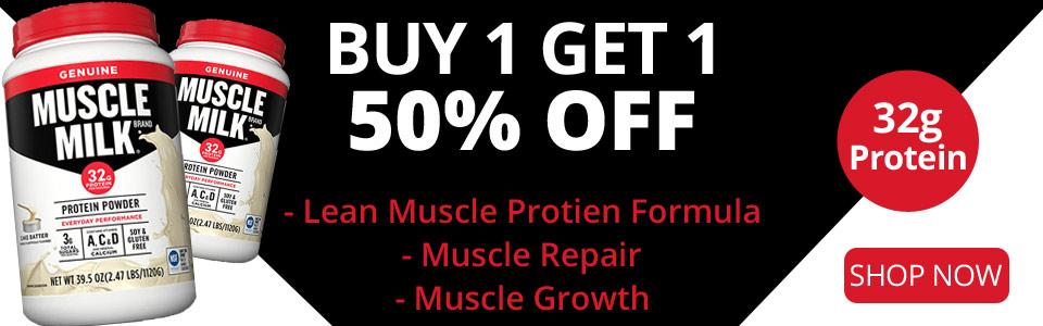 Buy 1 CytoSport Muscle Milk - 2.48 lbs, Get 1 50% OFF!