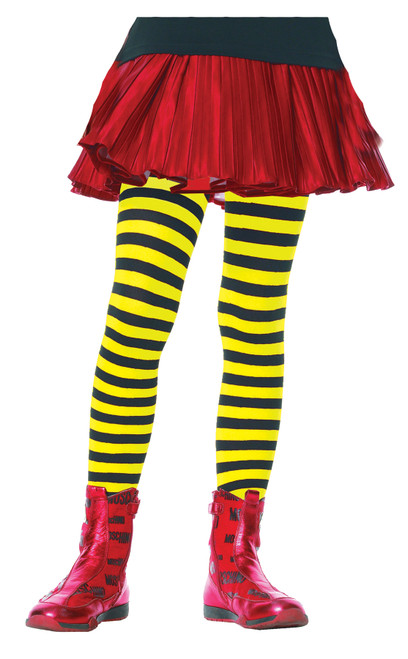 Tights Chld Striped Bk/yw 7-10