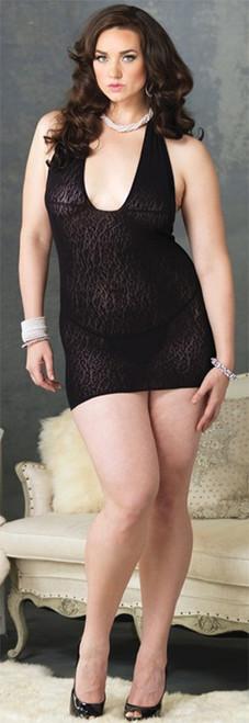 Halter Dress Leopard Lace Plus