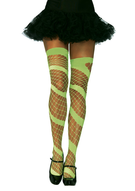 Diamond Net Thigh High Neon Gr