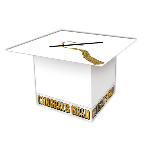 Grad Cap Card Box White